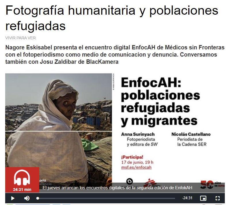 Entrevista en Radio Euskadi a Nagore Eskisabel de MSF y a Josu Zaldibar de Blackkamera